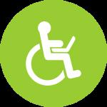 Ikona dostępność. Człowiek z laptopem na wózku inwalidzkim